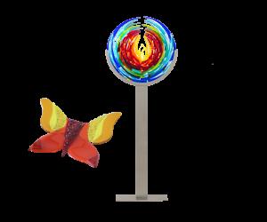 lotus op staander en vlinder